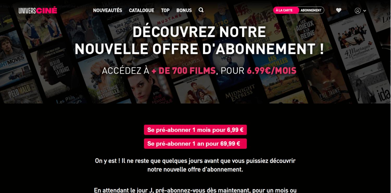Capture de la page de présentation de l'offre d'abonnement de UniversCiné