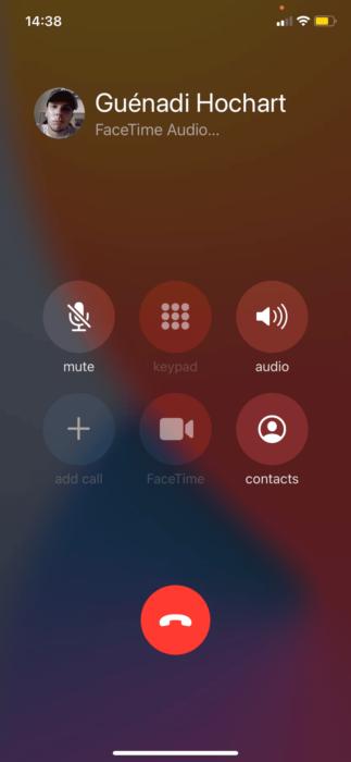iOS 14 témoin lumineux orange