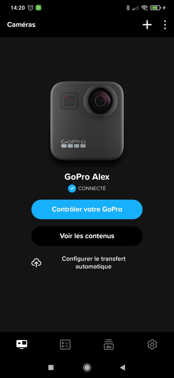 GoPro application lancement