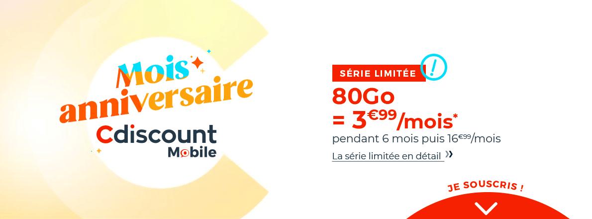 forfait mobile 80 Go 4 euros par mois Cdiscount mobile