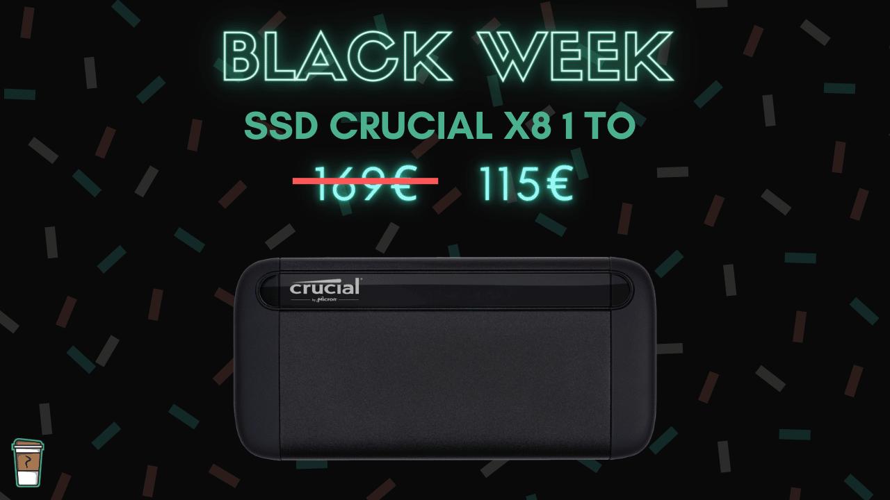 SSD Crucial X8 1 To Black Week