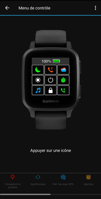 Garmin Connect menu de contrôle