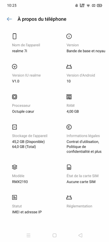 Realme 7i - OS