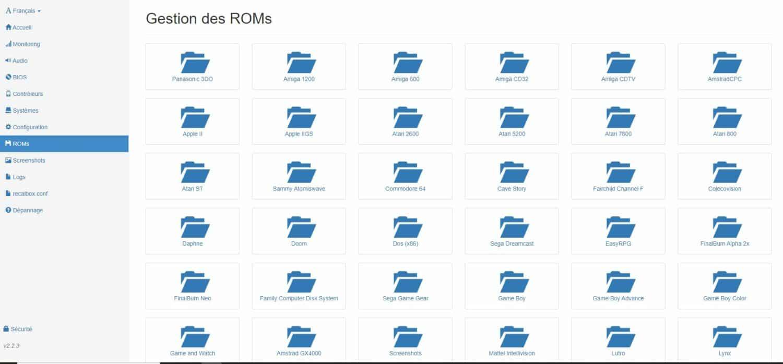 Recalbox gestion des roms