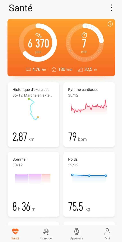 Screenshot huawei health accueil 1