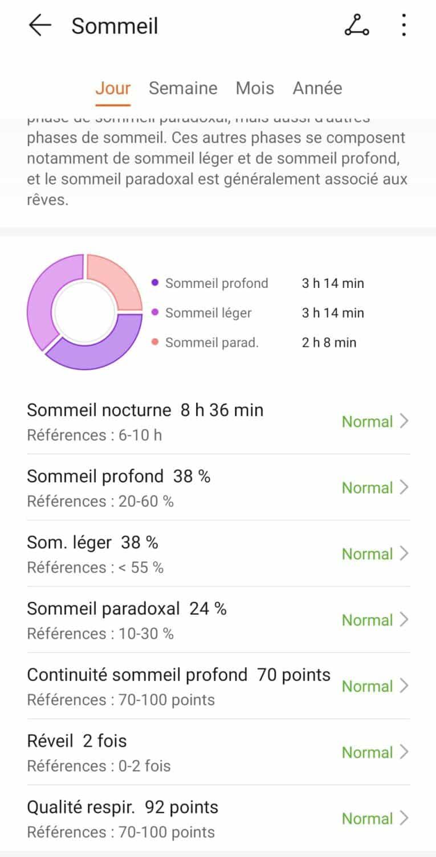 Screenshot huawei health suivi sommeil 2