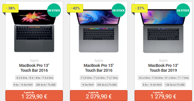 e-recycle Macbooks Pro reconditionnés