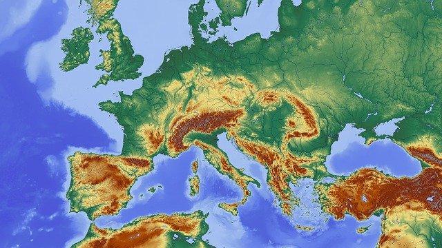 La carte de l'Europe centrale