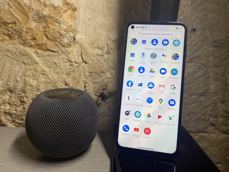 Motorola moto G9 plus écran Android HomePod mini