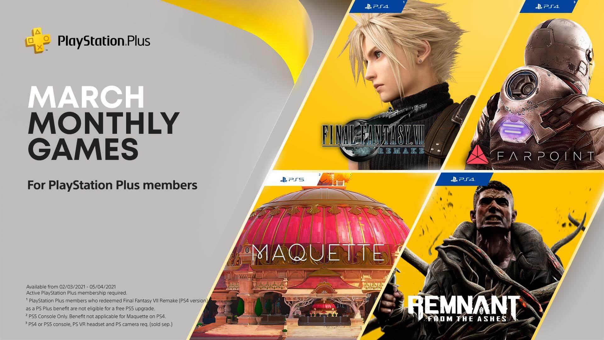 PlayStation Plus : les jeux gratuits sur PS4 et PS5 en mars 2021 (Final Fantasy VII Remake…)
