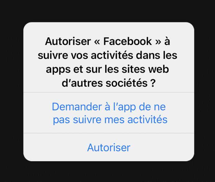 iOS 14.5 demandes d'autorisation du suivi publicitaires LCDG
