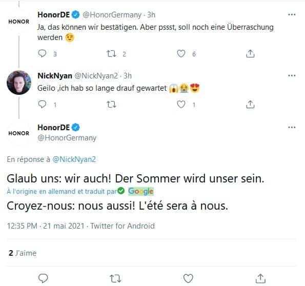 Tweet HONOR Allemagne sortie prochains smartphone