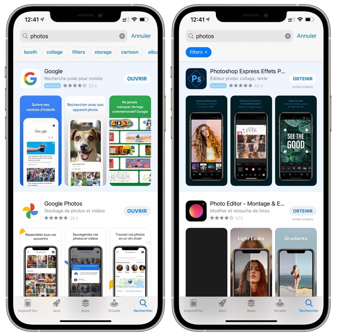 Apple ajoute des filtres de recherche dans  l'App Store