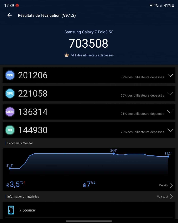 antutu benchmark samsung galaxy z flip 3 5G