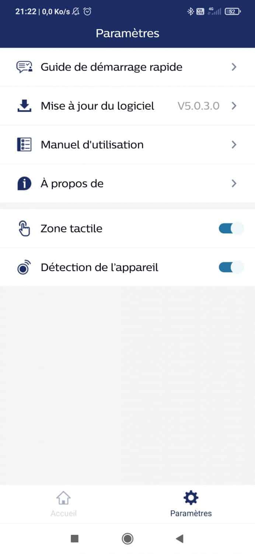 Capture ecran menu reglage parametre